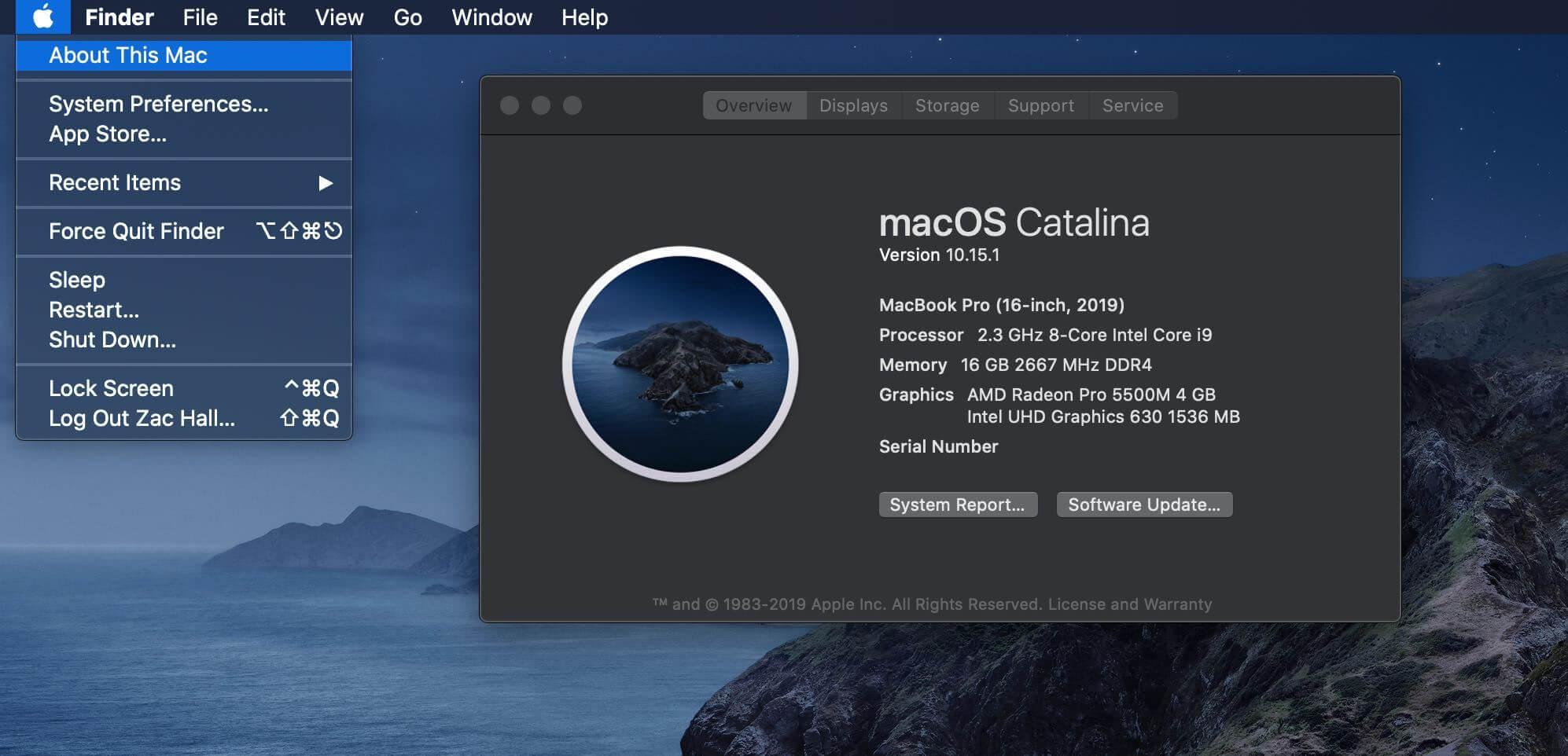macOS Catalina version