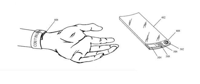Этот рисунок взят из патента Apple, в котором использовалось слово «браслет», а не «часы», но во многих других случаях Apple Watch прибили. (Источник: ВПТЗ США)