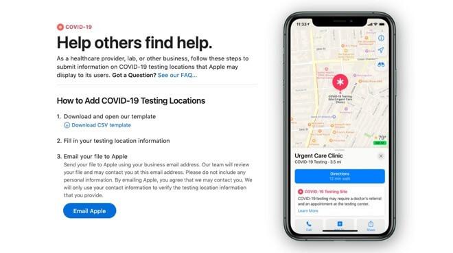 Портал Apple Maps для провайдеров медицинских услуг, чтобы представить свои объекты в качестве сайтов тестирования.