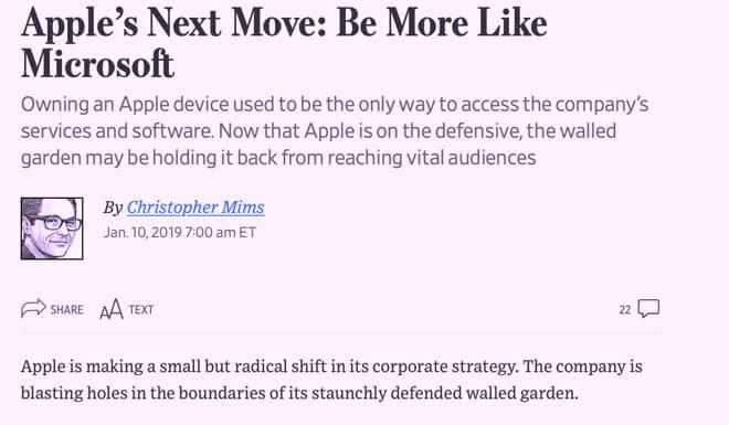 WSJ невероятно вообразил, что обнесенный стеной сад Apple был проблемой и нуждался