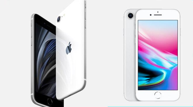 Слева: новый iPhone SE. Справа: iPhone 8