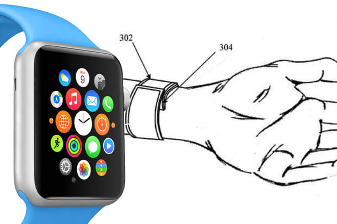 Оригинальные Apple Watch рядом с одним из множества рисунков, которые появились в различных патентах Apple