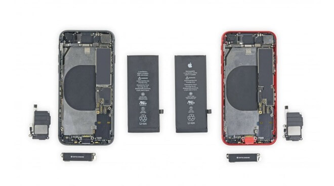 IPhone 8 (слева), iPhone SE 2020 (справа) (через iFixit)