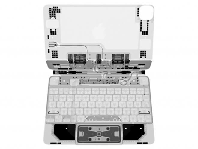 «Снятие рентгеновских снимков» iPad Pro Magic Keyboard иллюстрирует сложную конструкцию