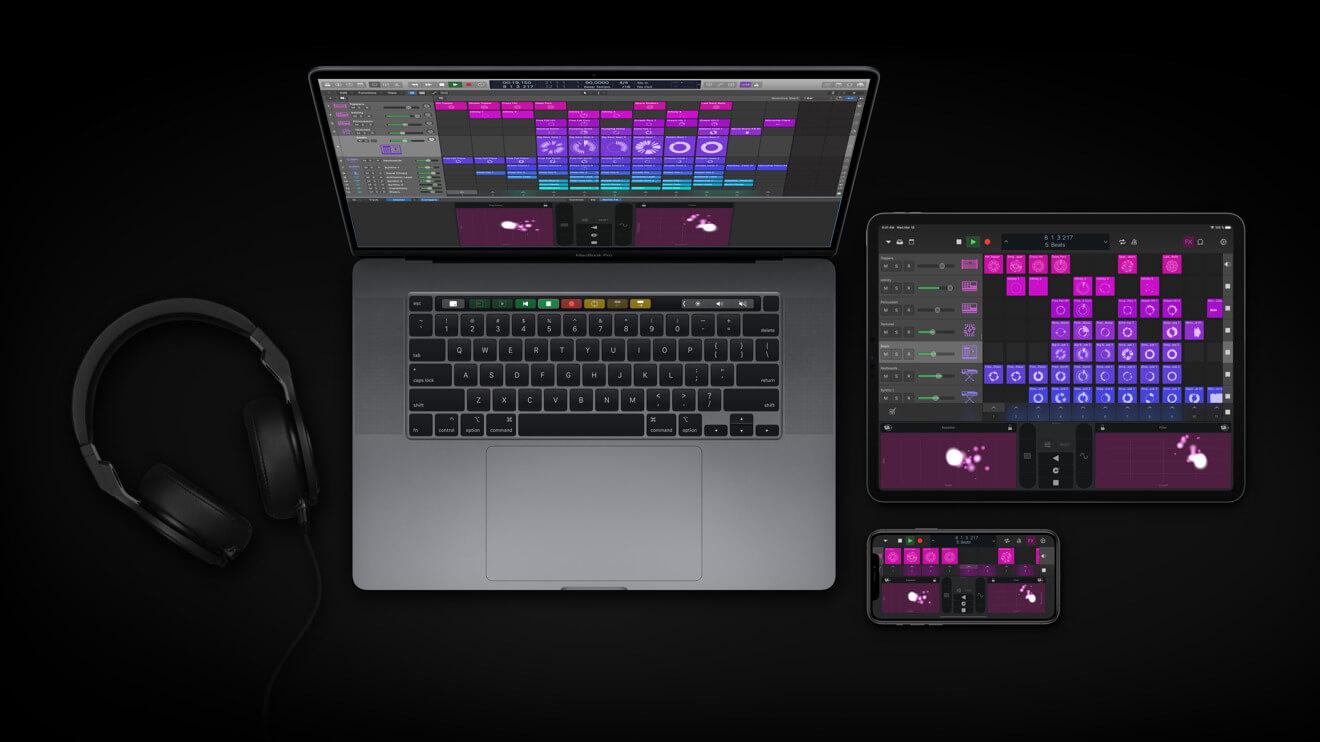 Logic Pro X на MacBook Pro с приложением Logic Remote