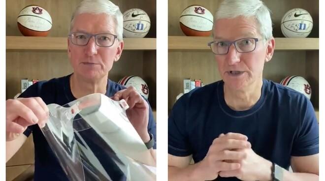 Генеральный директор Apple Тим Кук представляет защитную маску Apple 5 апреля.