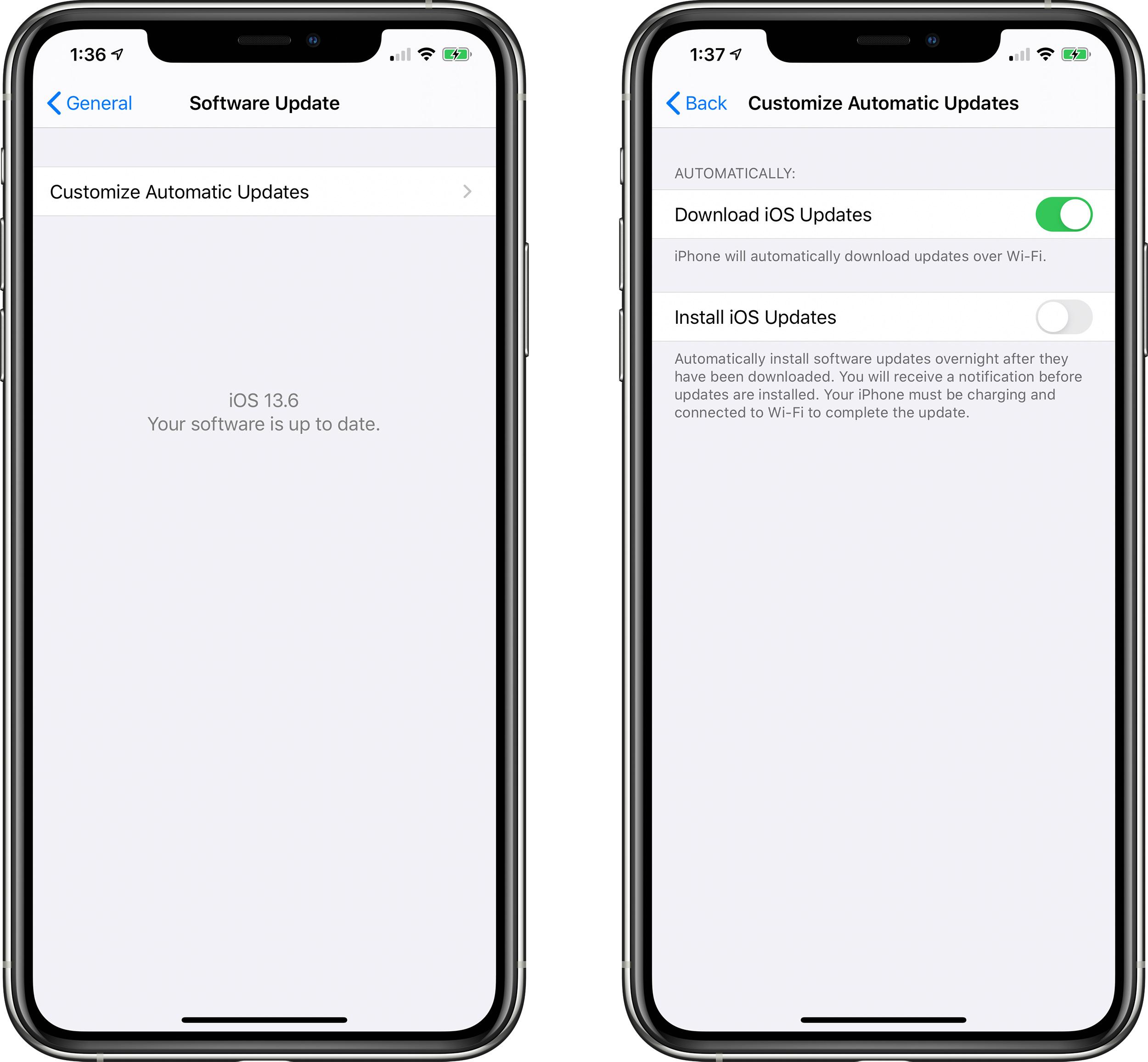 iOS 13.6 Beta добавляет переключатель для отключения автоматического обновления iOS загрузки