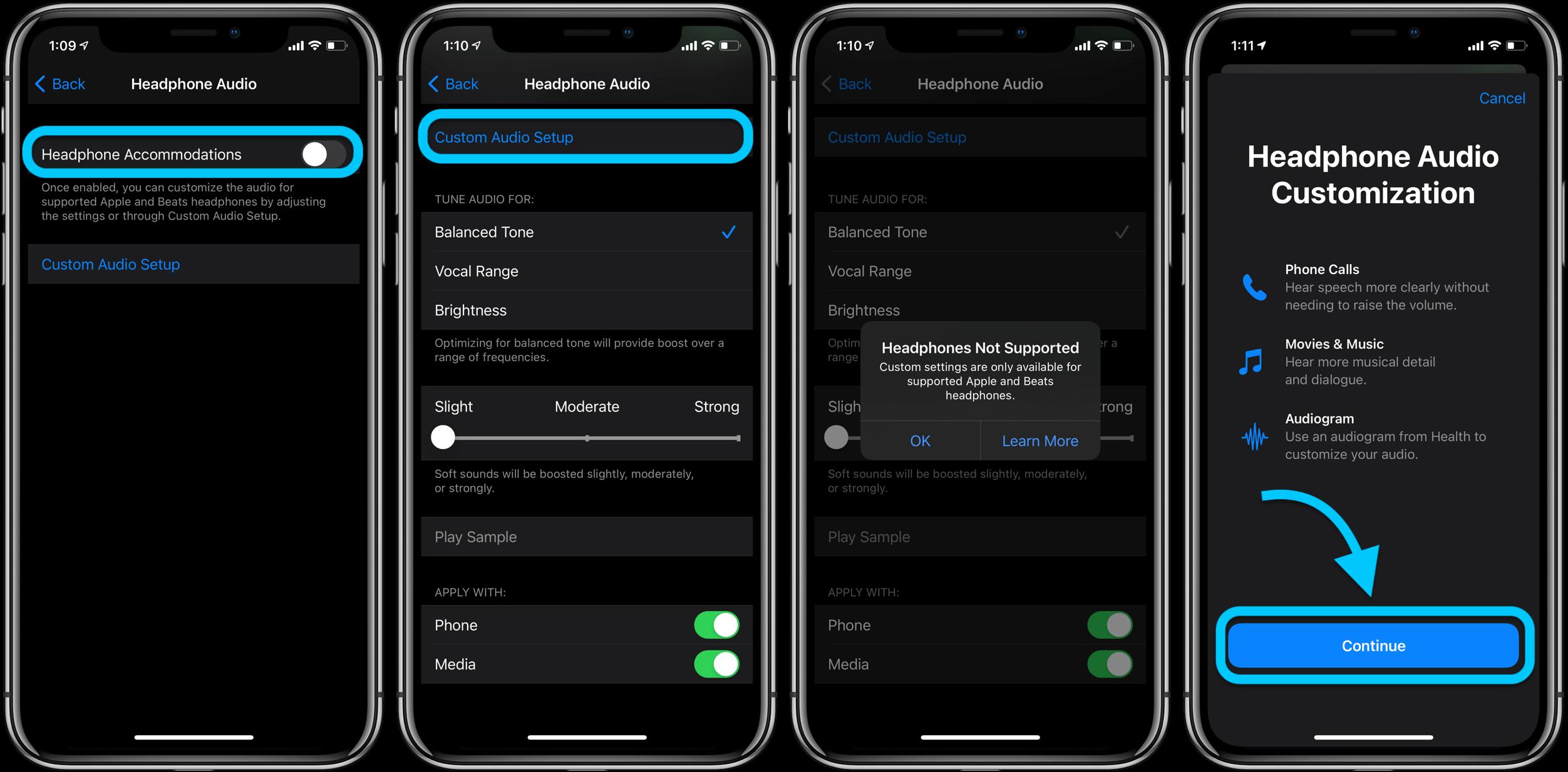 Как настроить звук в наушниках iPhone в iOS 14, пошаговое руководство 2