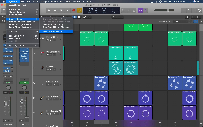 Перемещение звуковой библиотеки Logic Pro