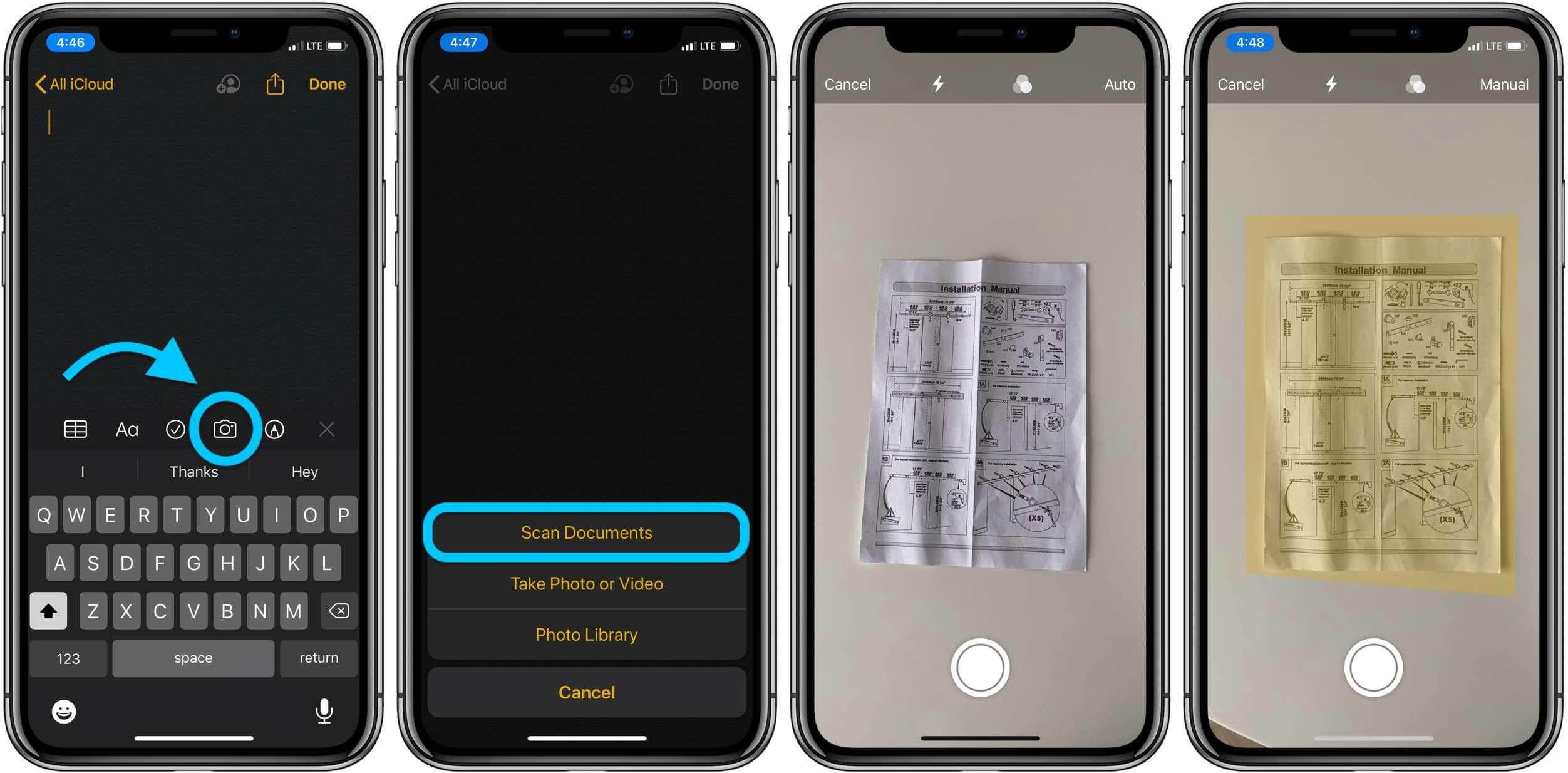 Как сканировать с помощью приложения Notes для iOS, пошаговое руководство 1