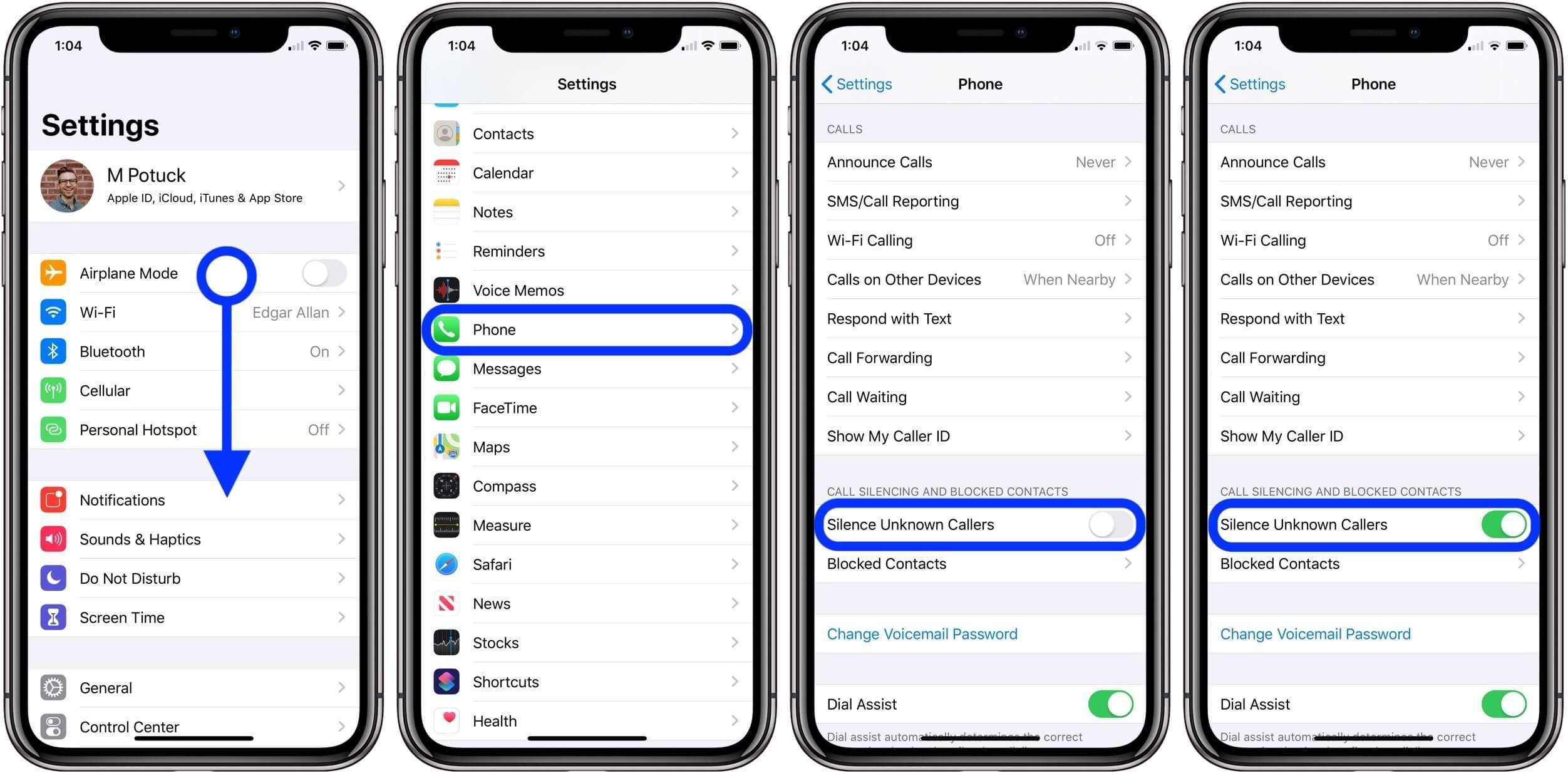 как отключить звук неизвестных и спам-вызовов iPhone iOS 13
