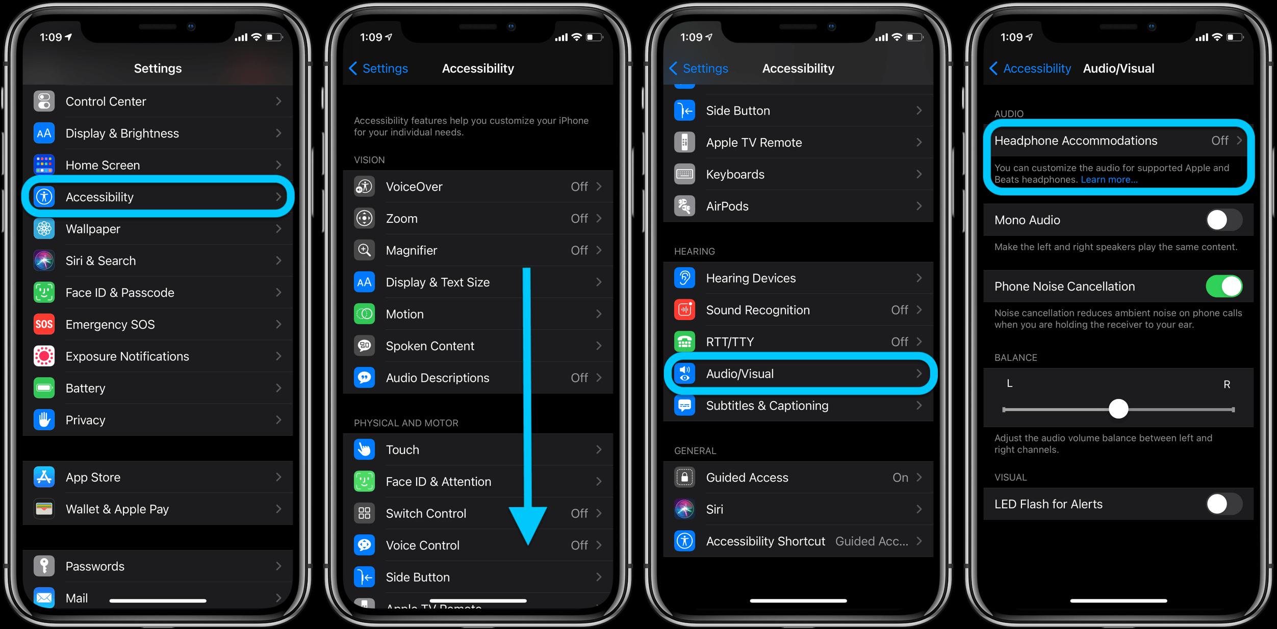 Как настроить звук в наушниках iPhone в iOS 14, пошаговое руководство 1