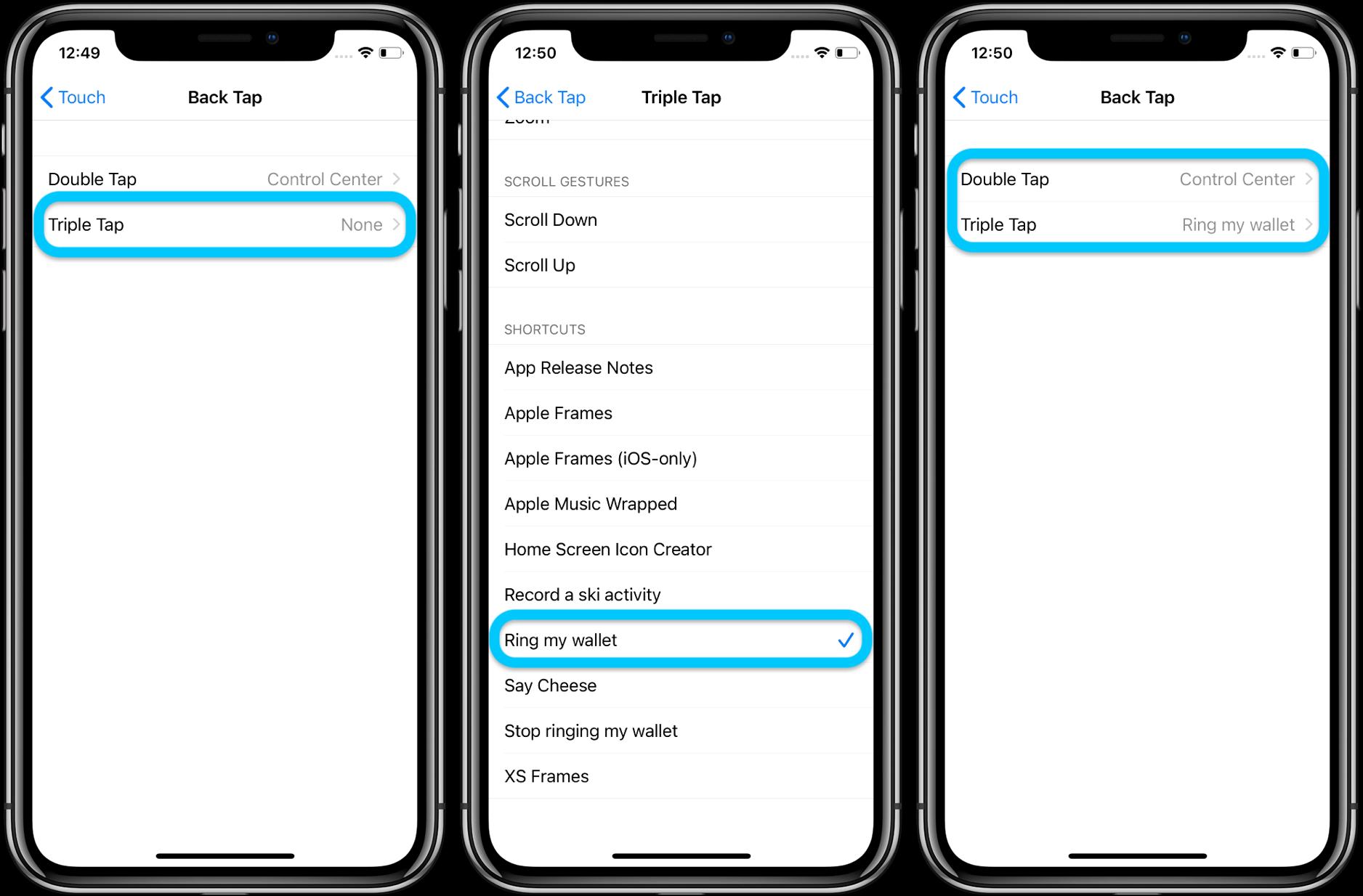 Как использовать iPhone Назад Коснитесь настраиваемого прохождение 3