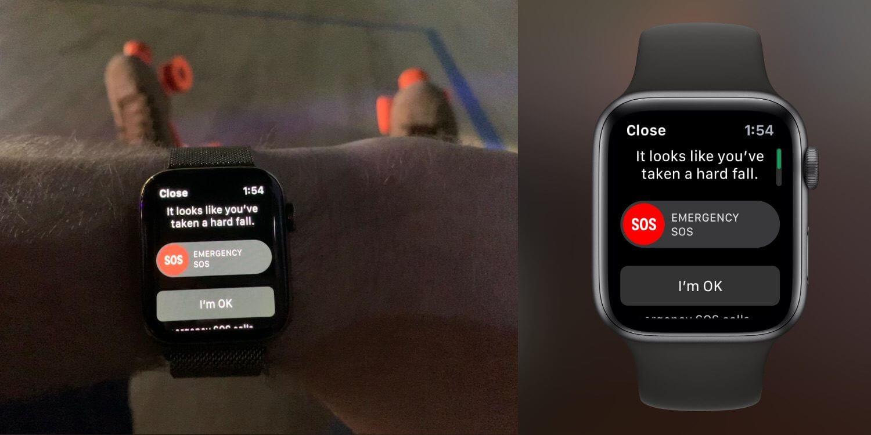 обнаружение падения яблочных часов