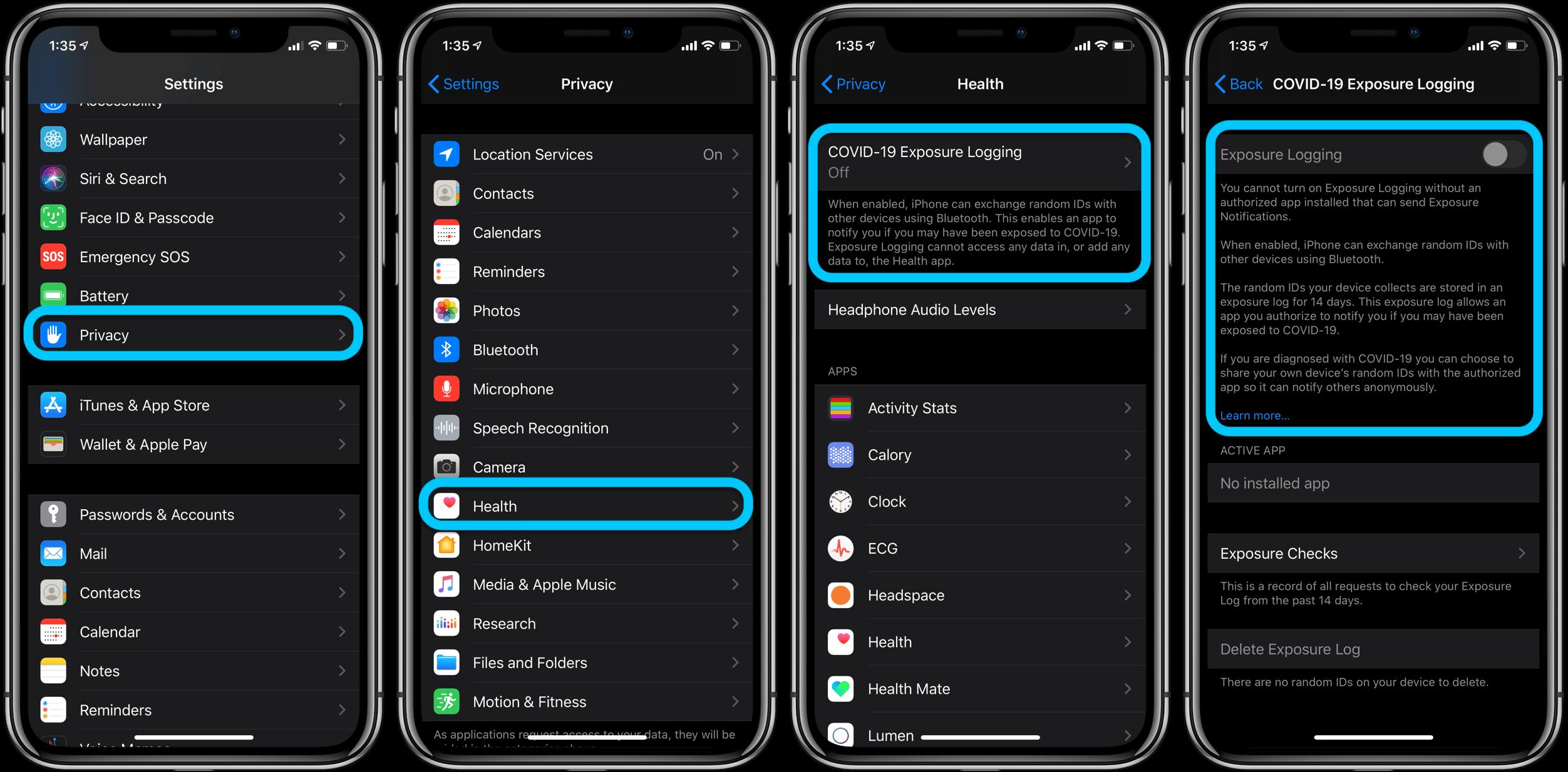 Как включить / выключить отслеживание контактов на iPhone iOS 13.5 пошаговое руководство