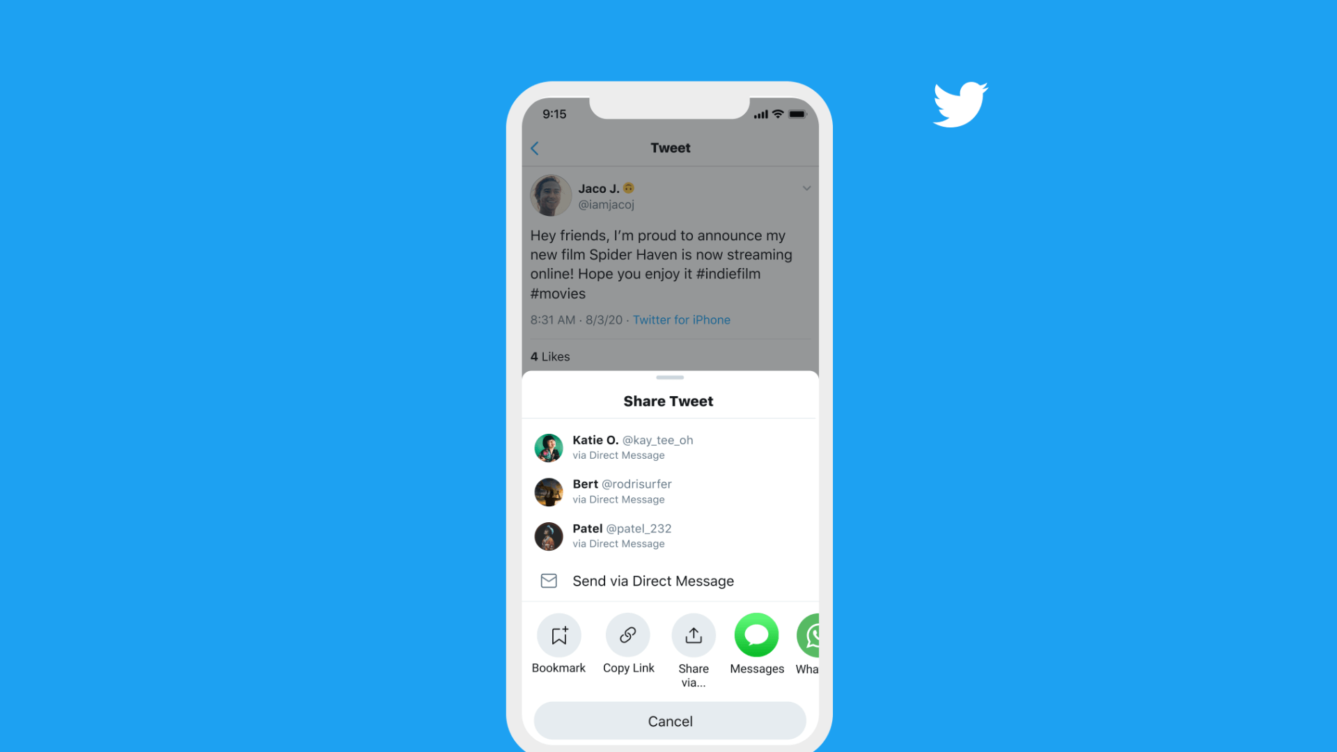 В обновлении приложения Twitter для iOS появилось новое меню «Поделиться твитом» с предложениями DM
