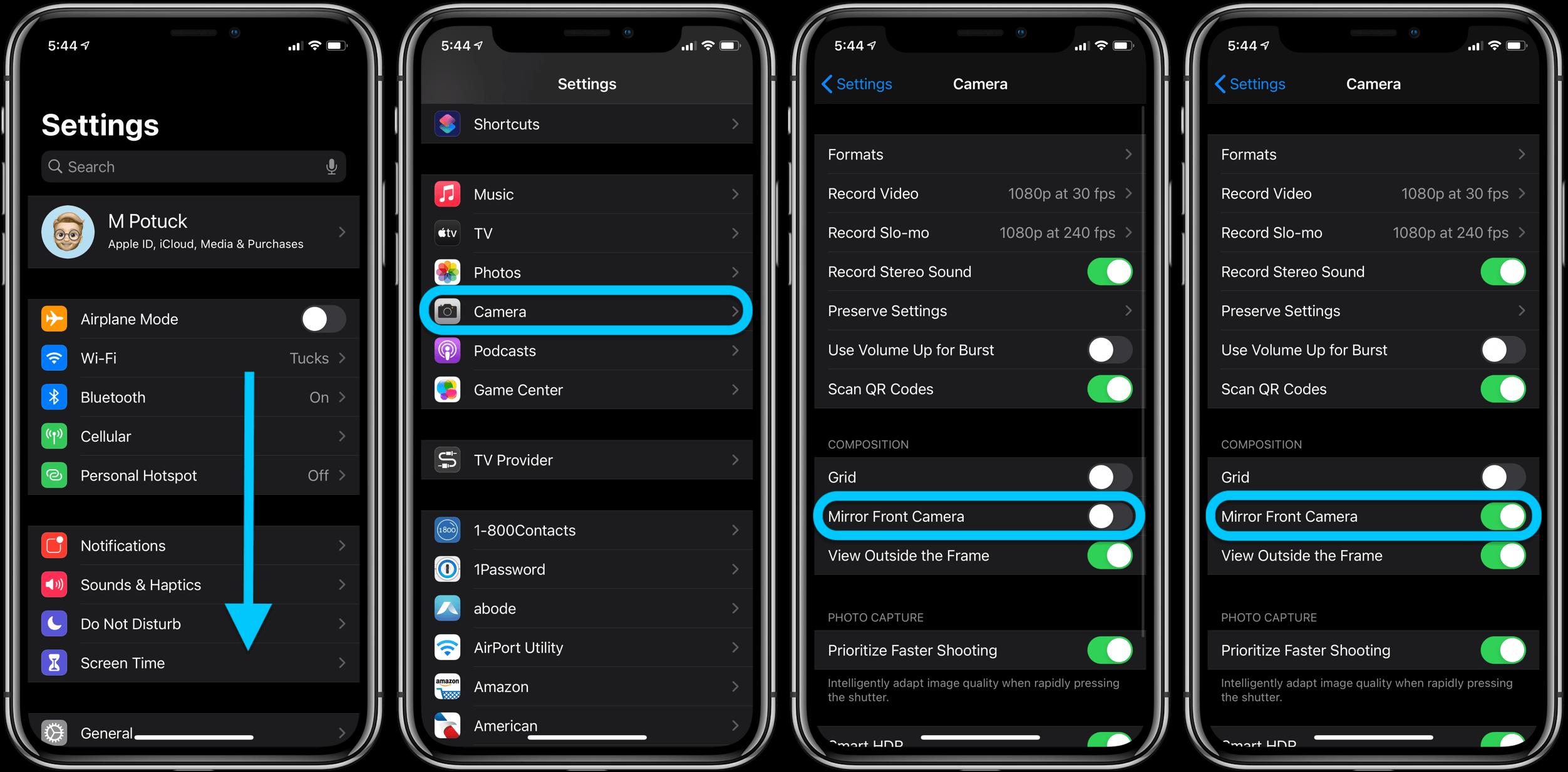 Как отразить селфи iPhone в iOS 14