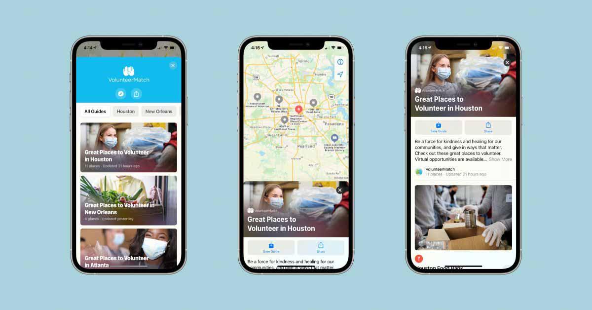 Apple Maps добавляет интеграцию VolunteerMatch с тщательно подобранными руководствами для общения с сообществами