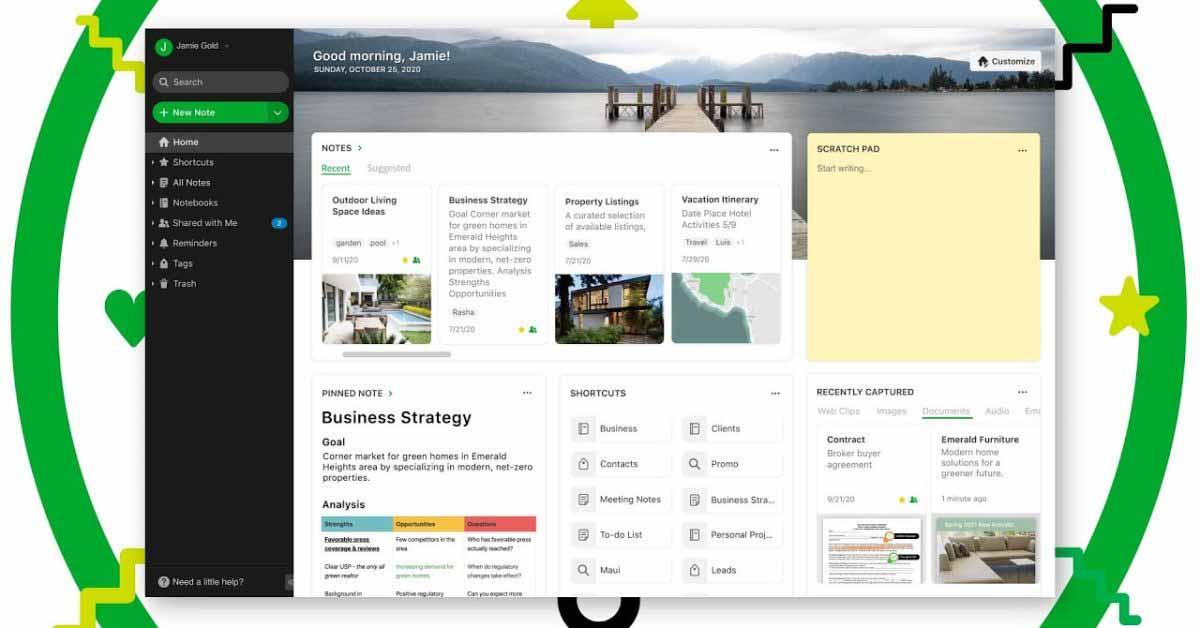 Evernote представляет новую панель инструментов Home с множеством данных в одном месте