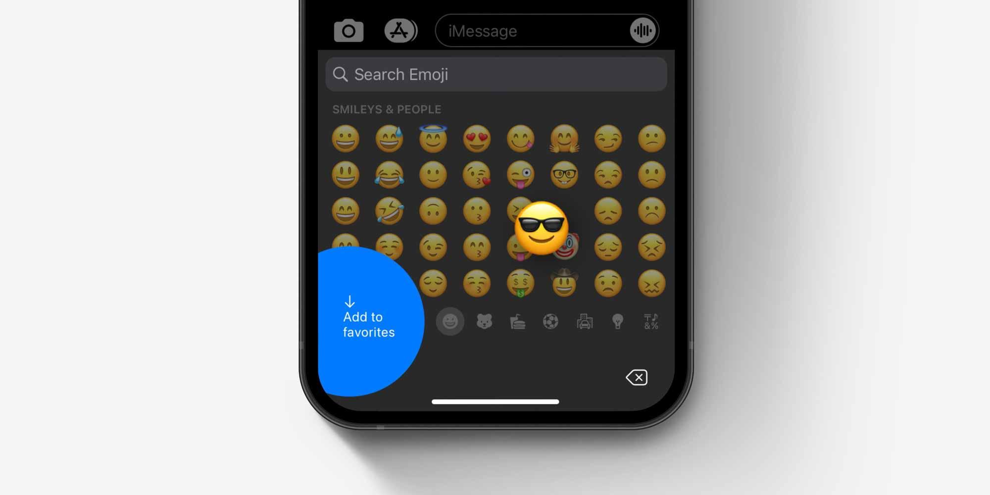 """Клавиатура смайликов iOS как """"добавить в избранное"""" концепция"""