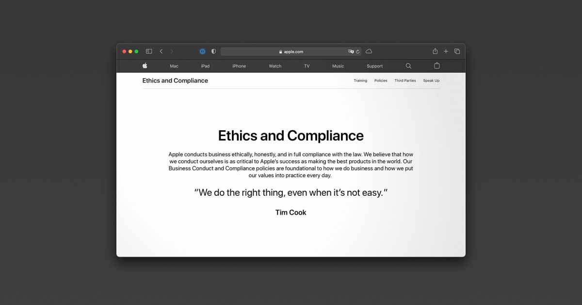 Apple представляет новую веб-страницу «Этика и соответствие требованиям» с подробной информацией о политике поведения и многом другом