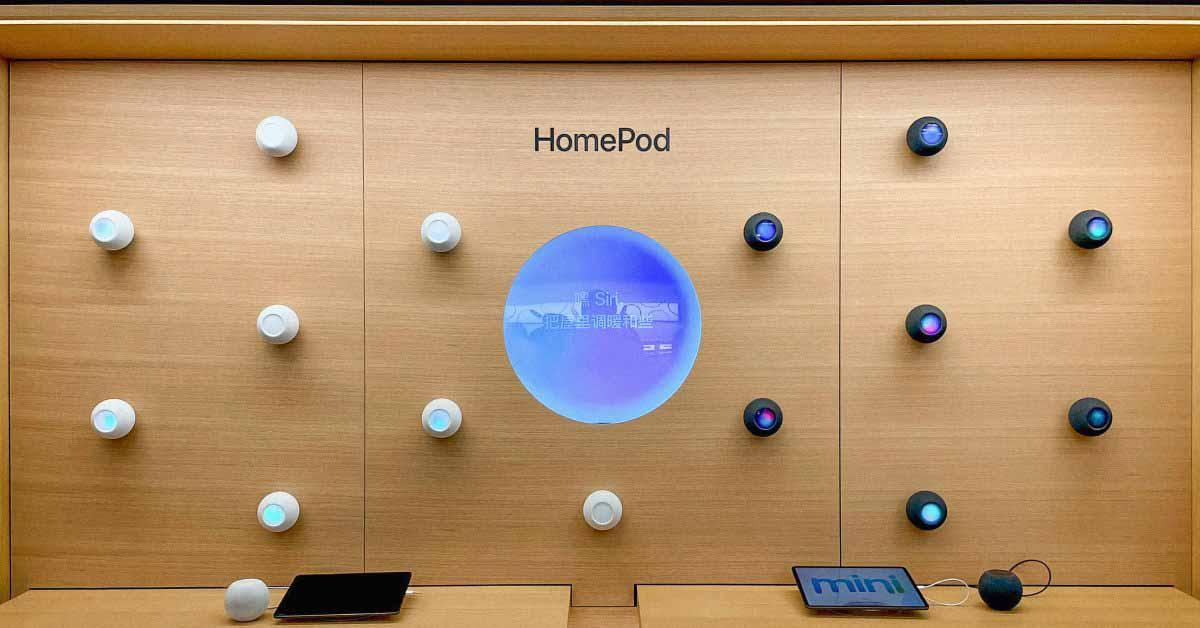 Дисплеи Apple Store выводят HomePod mini на максимум