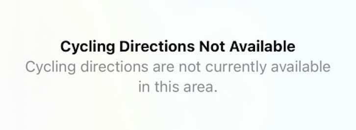 Велосипедные маршруты Apple Maps недоступны