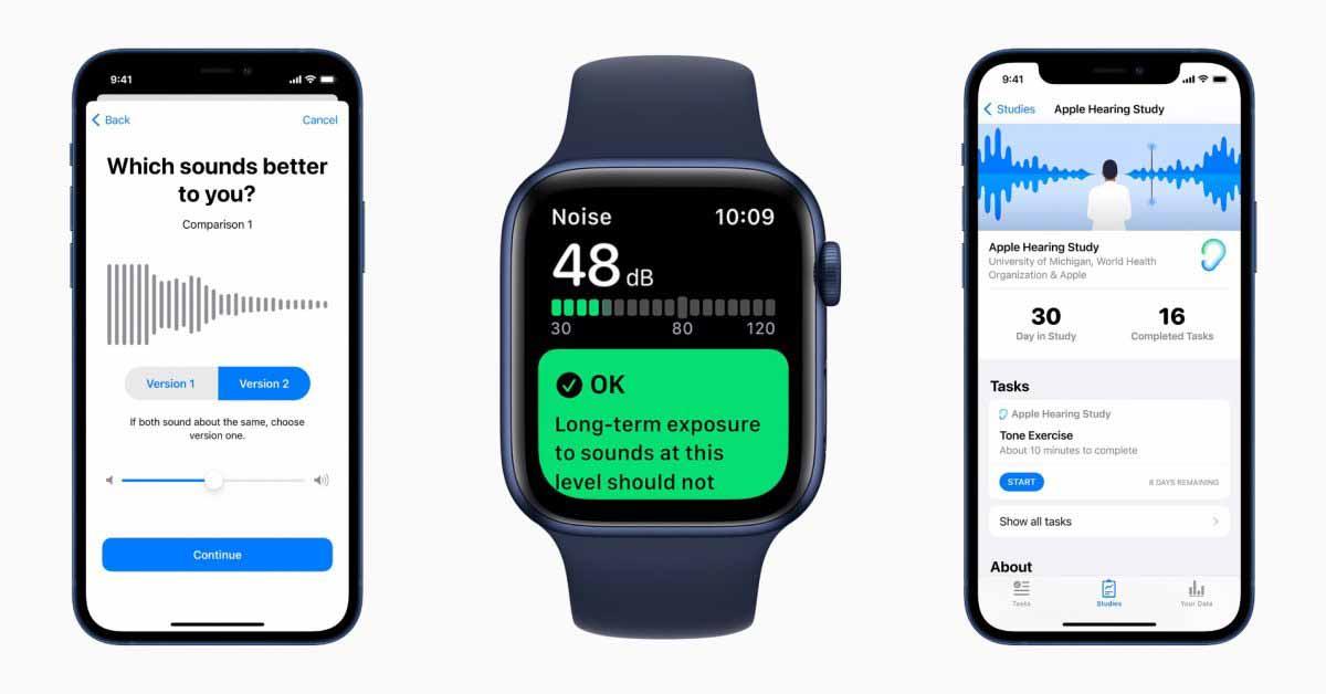 Apple делится своими впечатлениями от исследования слуха на основе данных iPhone и Apple Watch