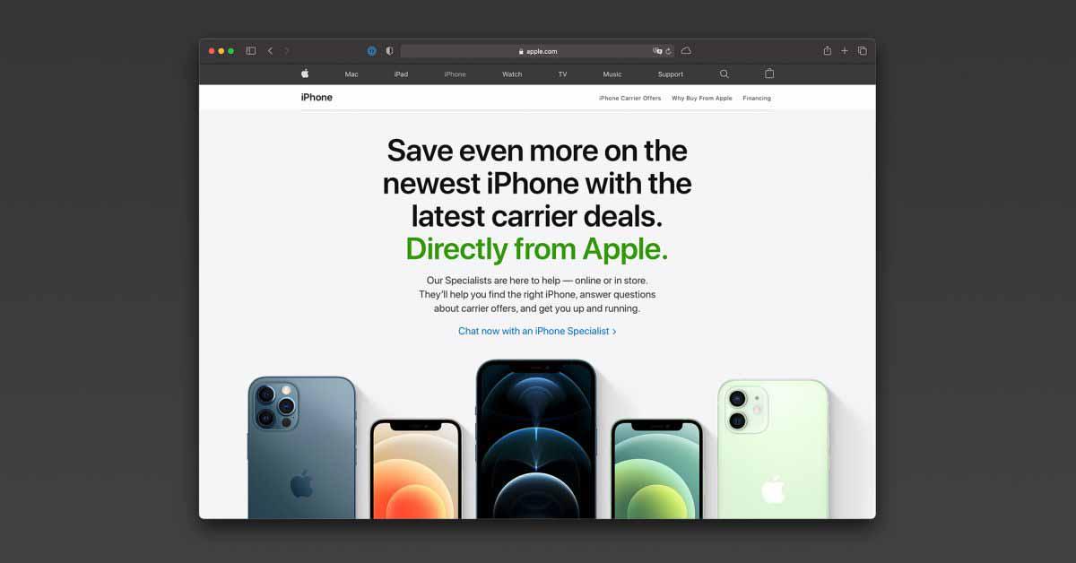 Apple запускает новую страницу на своем веб-сайте, посвященную предложениям операторов связи по моделям iPhone 12