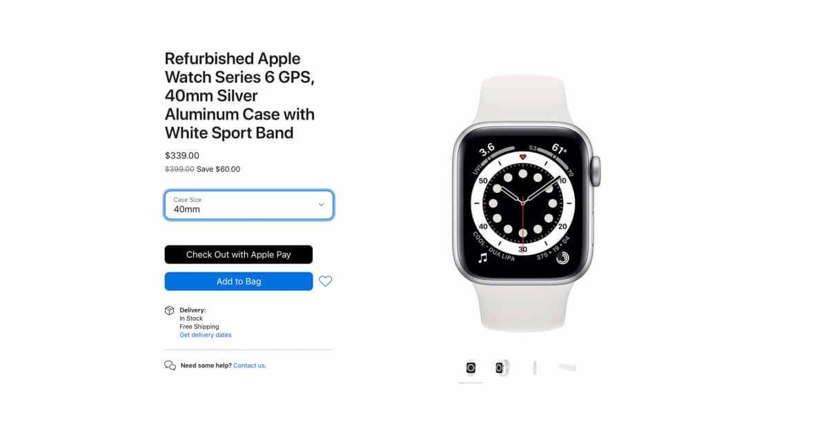 Apple начинает продажи отремонтированных Apple Watch Series 6 и SE
