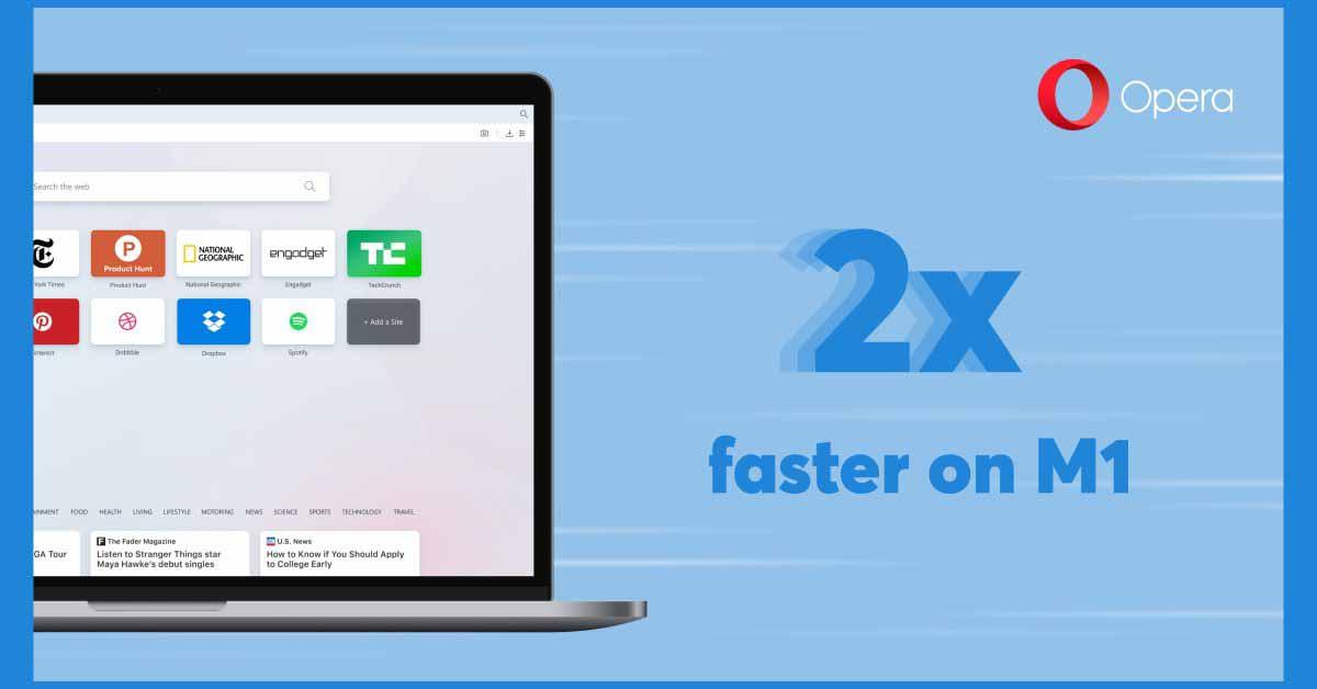 Браузер Opera получил поддержку M1 Mac с увеличением производительности в 2 раза