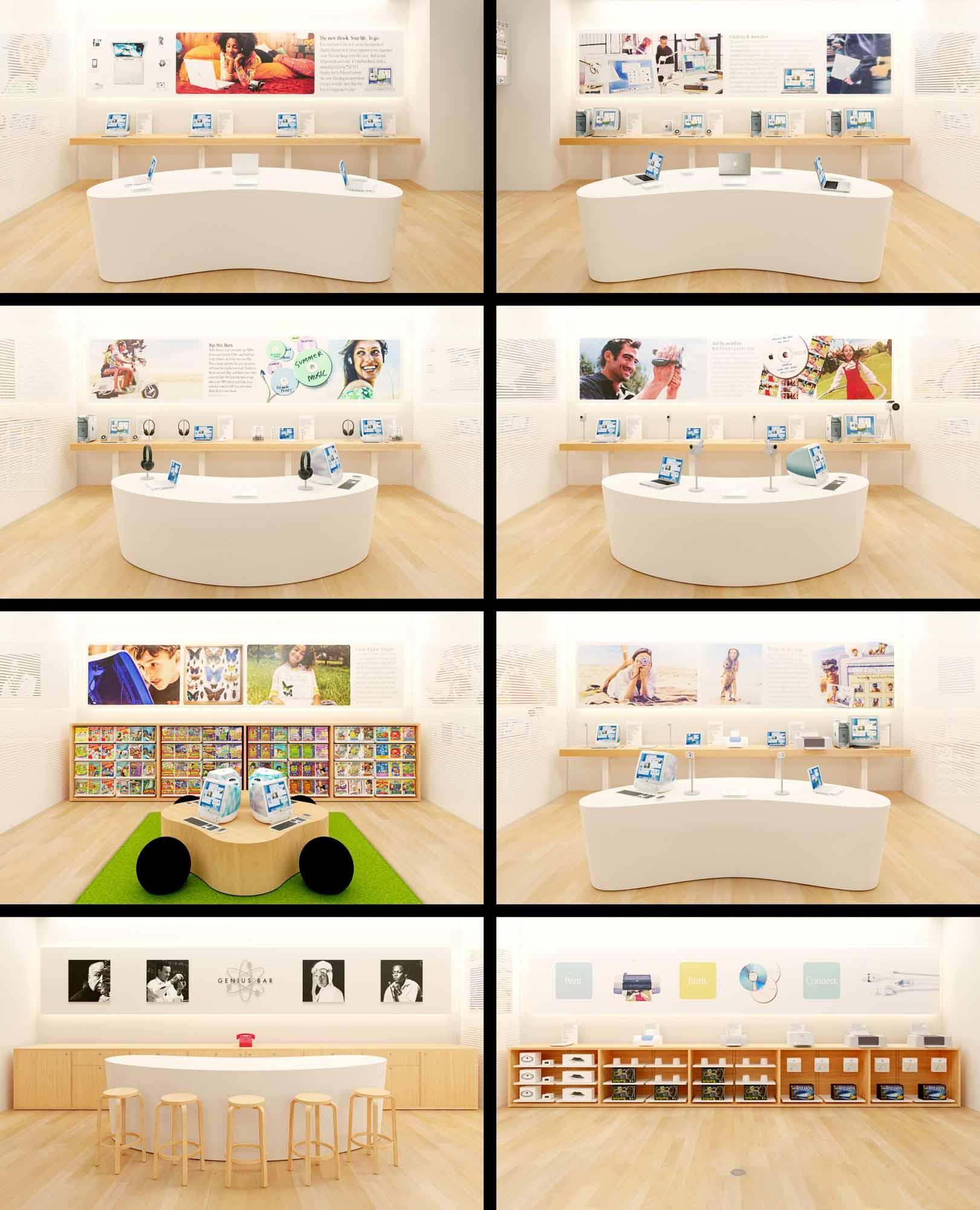 Восемь разделов первого в мире Apple Store.