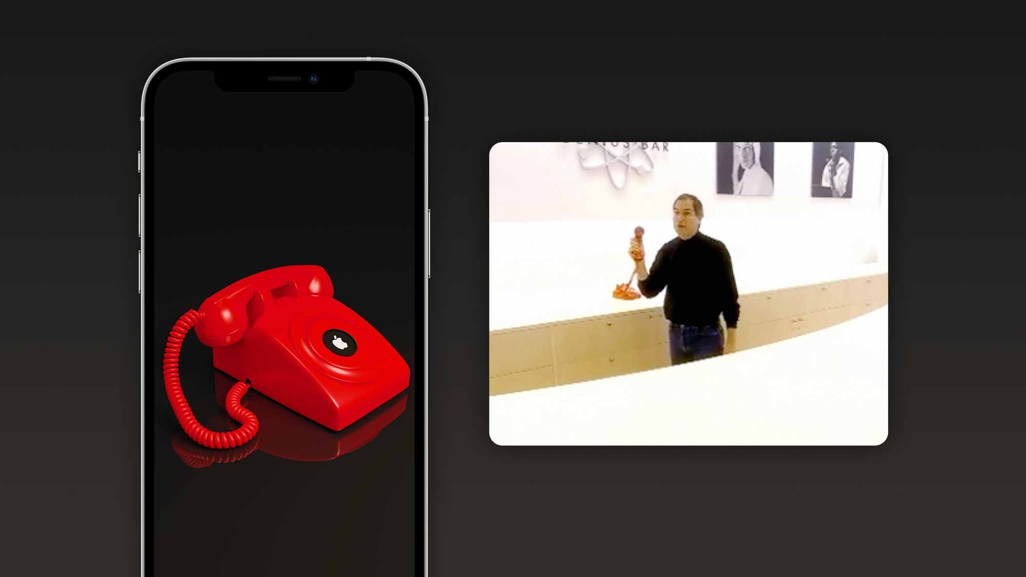 """Стив Джобс показал красный дисковый телефон, предлагающий """"горячая линия"""" в Купертино в первый в мире магазин Apple Store."""