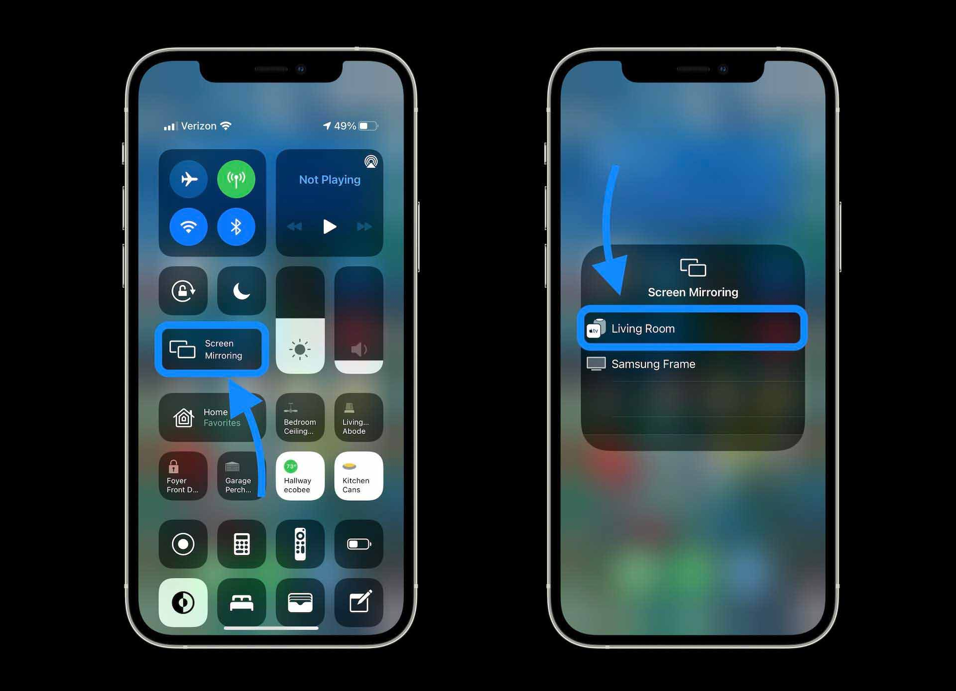 Как смотреть видео Dolby Vision iPhone на Apple TV - открытие Центра управления и выбор экрана Зеркальное отображение