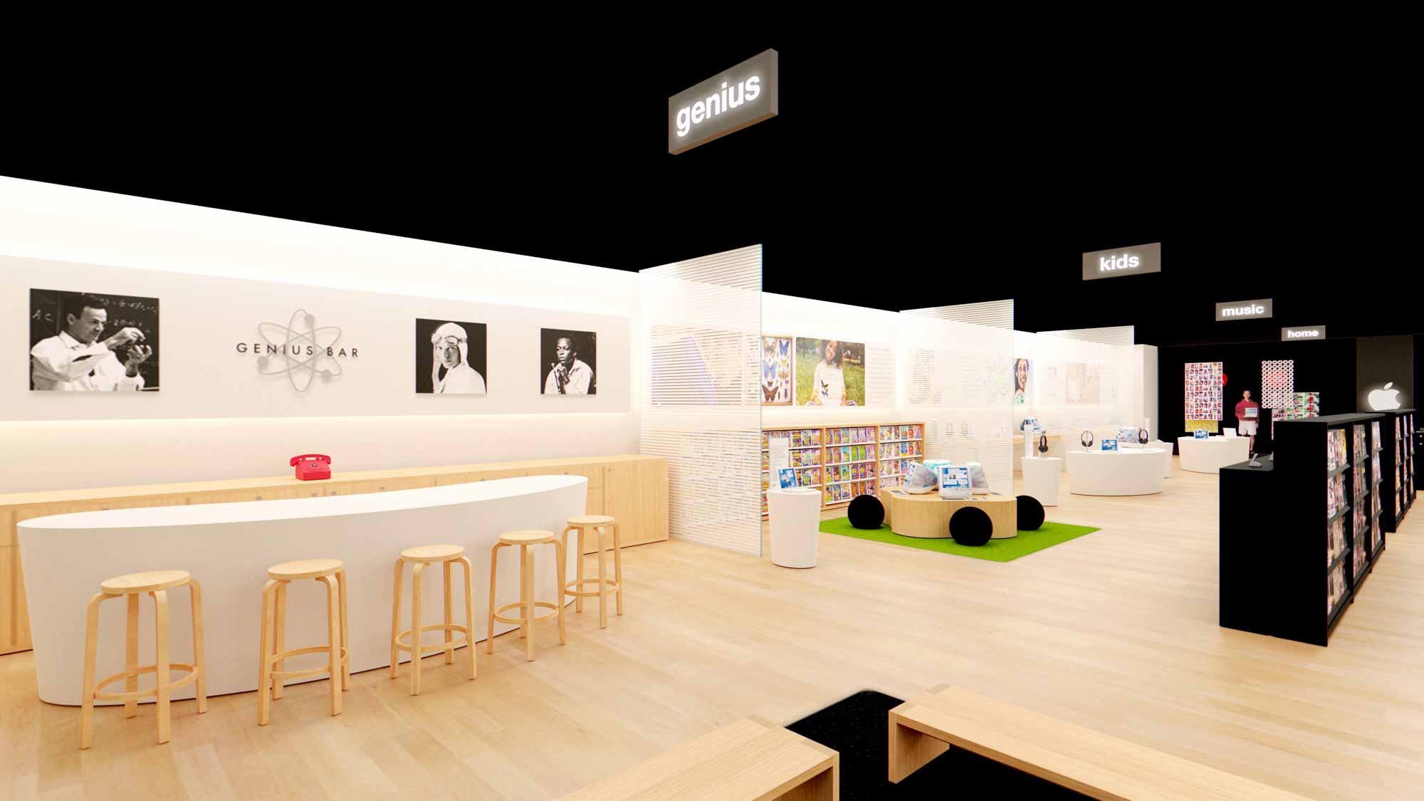 Внутри модели дополненной реальности первого в мире Apple Store.
