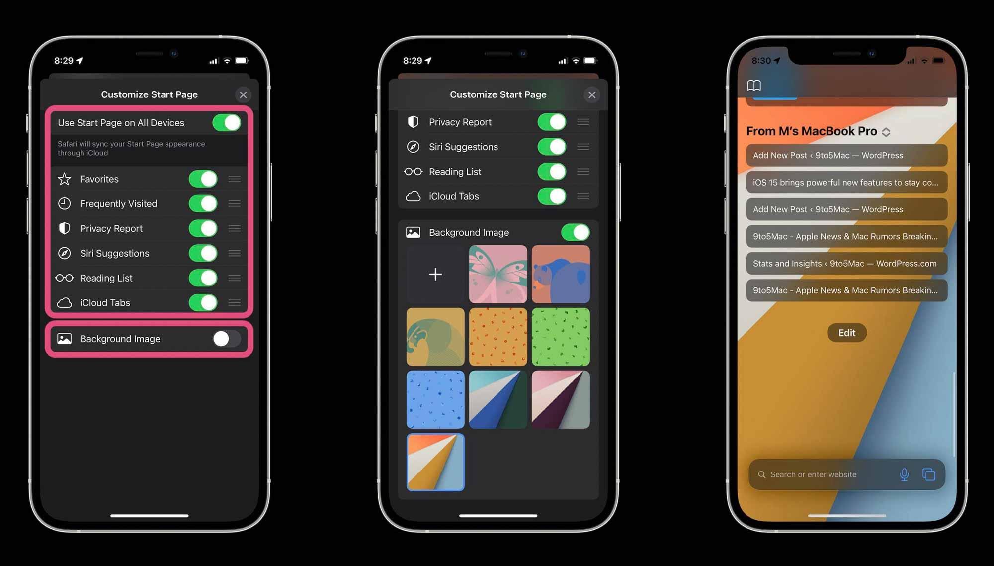Как работает Safari в iOS 15 - настраиваемая стартовая страница