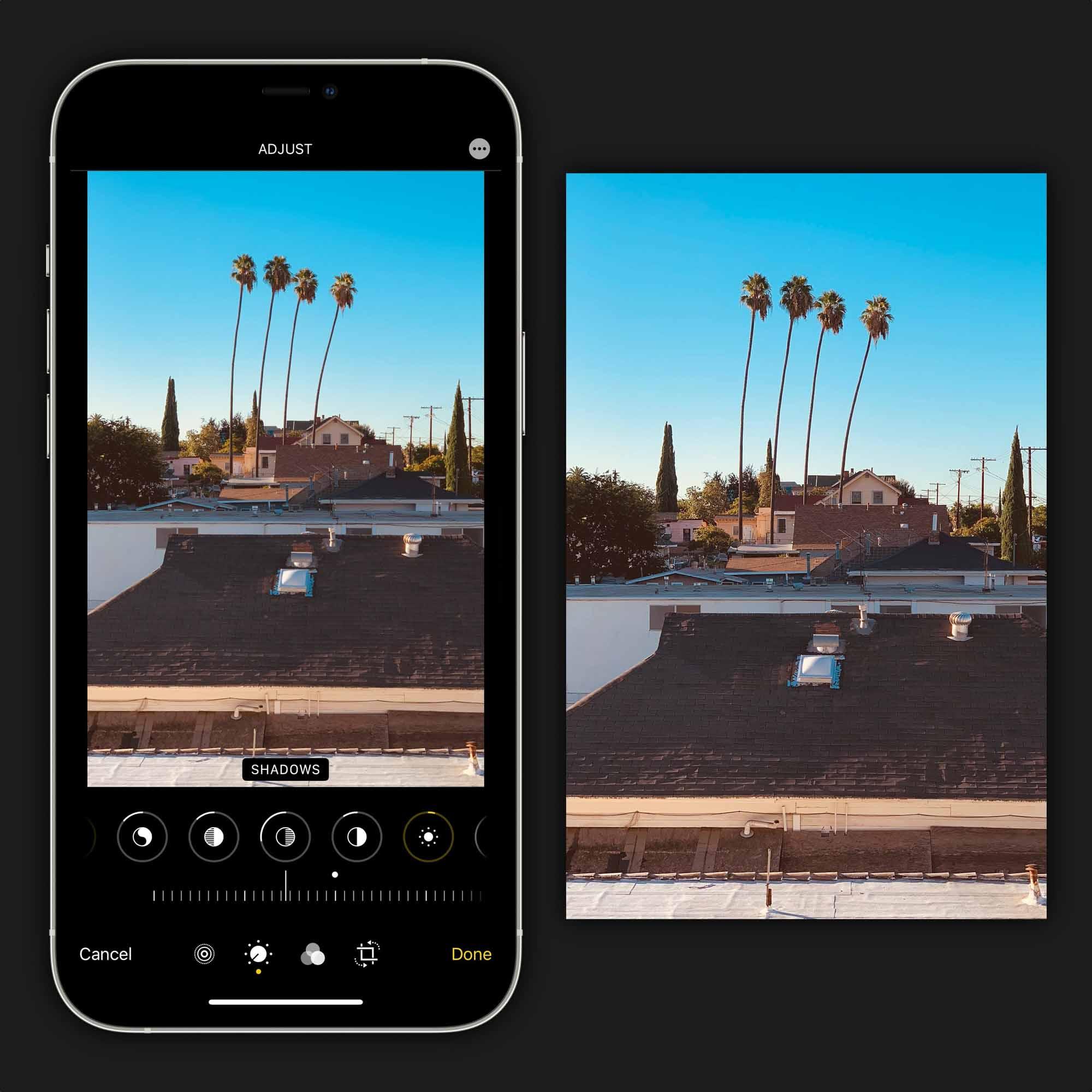 Отредактируйте свою фотографию в приложении« Фото », чтобы настроить перспективу и обрезку. Нажмите нужное настроение с помощью встроенных цветовых инструментов.