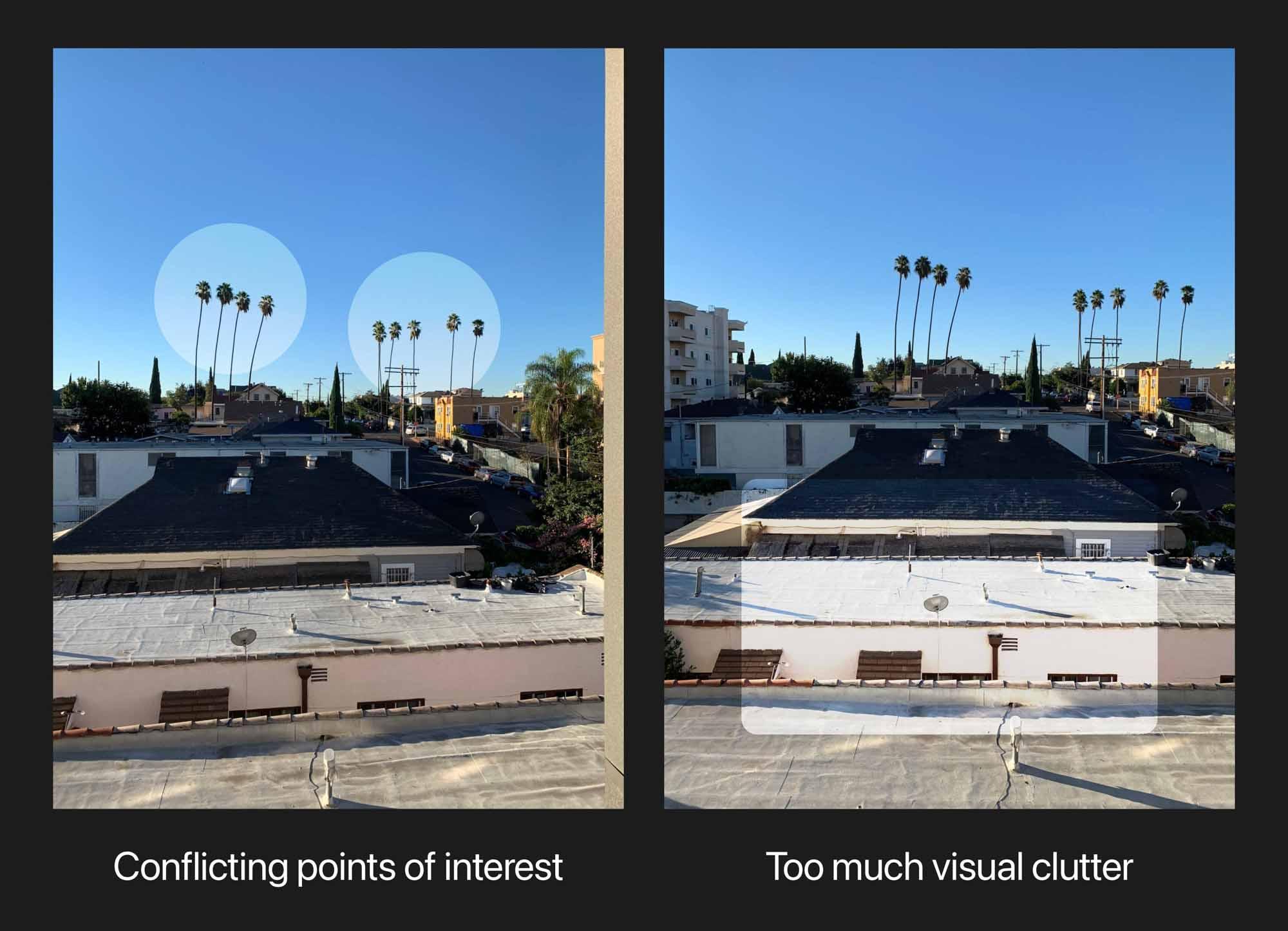 Конфликтующие точки интересов; слишком много визуального беспорядка