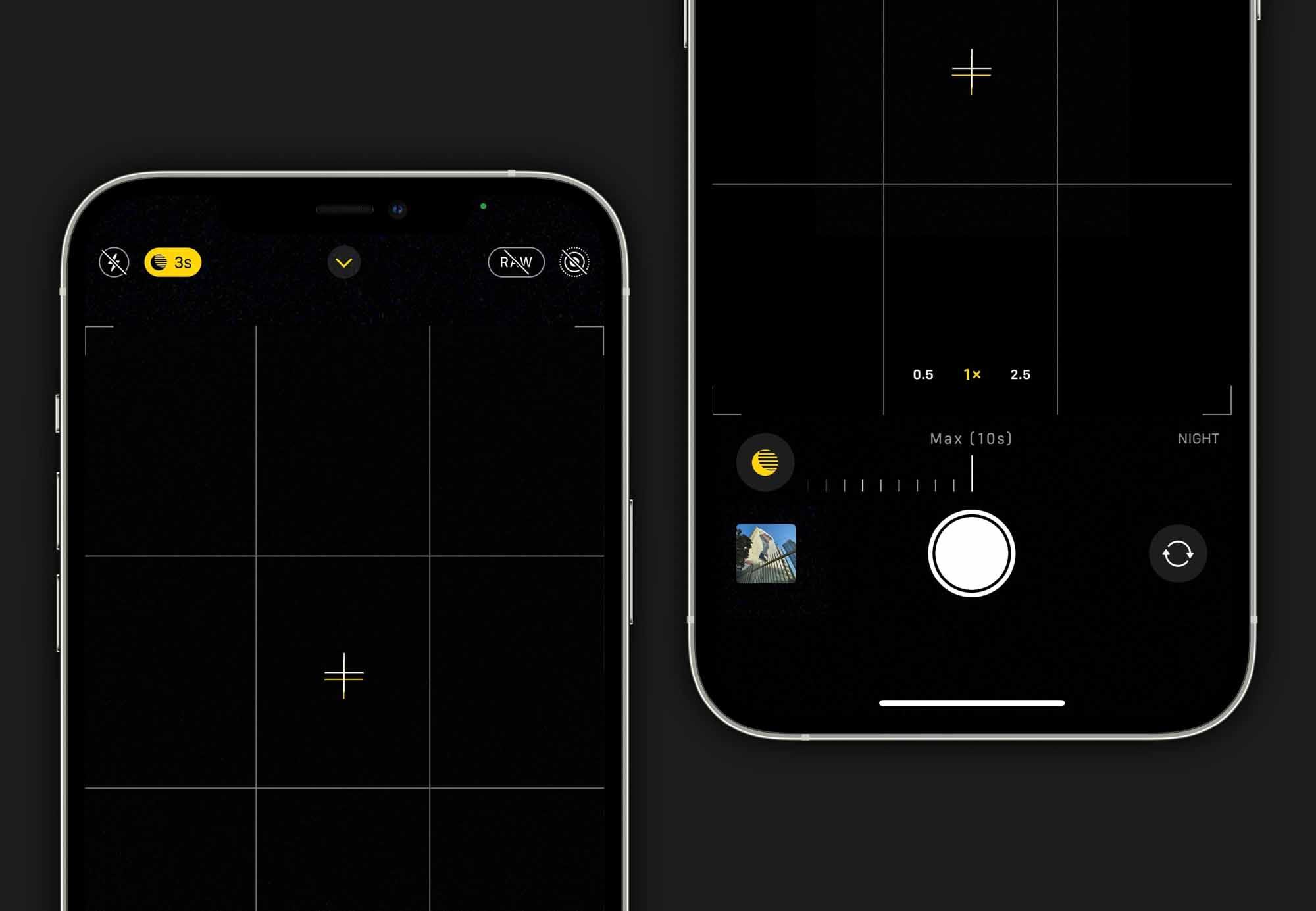 Коснитесь желтого элемента управления ночным режимом в приложении камеры, чтобы настроить экспозицию. Если вы иметь доступ к штативу, установка времени «Макс.» даст наилучшие результаты.