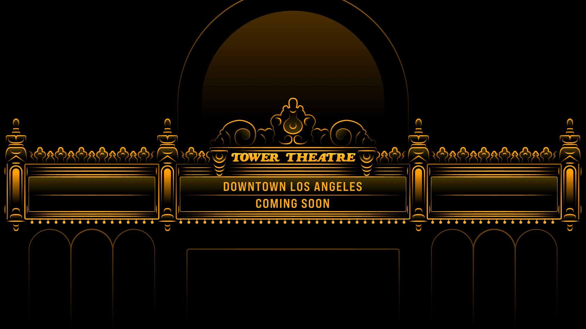 "Шатер театра Apple Tower с текстом ""Центр Лос-Анджелеса скоро будет"""