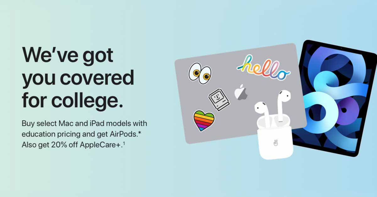Apple запускает предложение Back to School для учеников: бесплатные AirPods при покупке iPad и Mac
