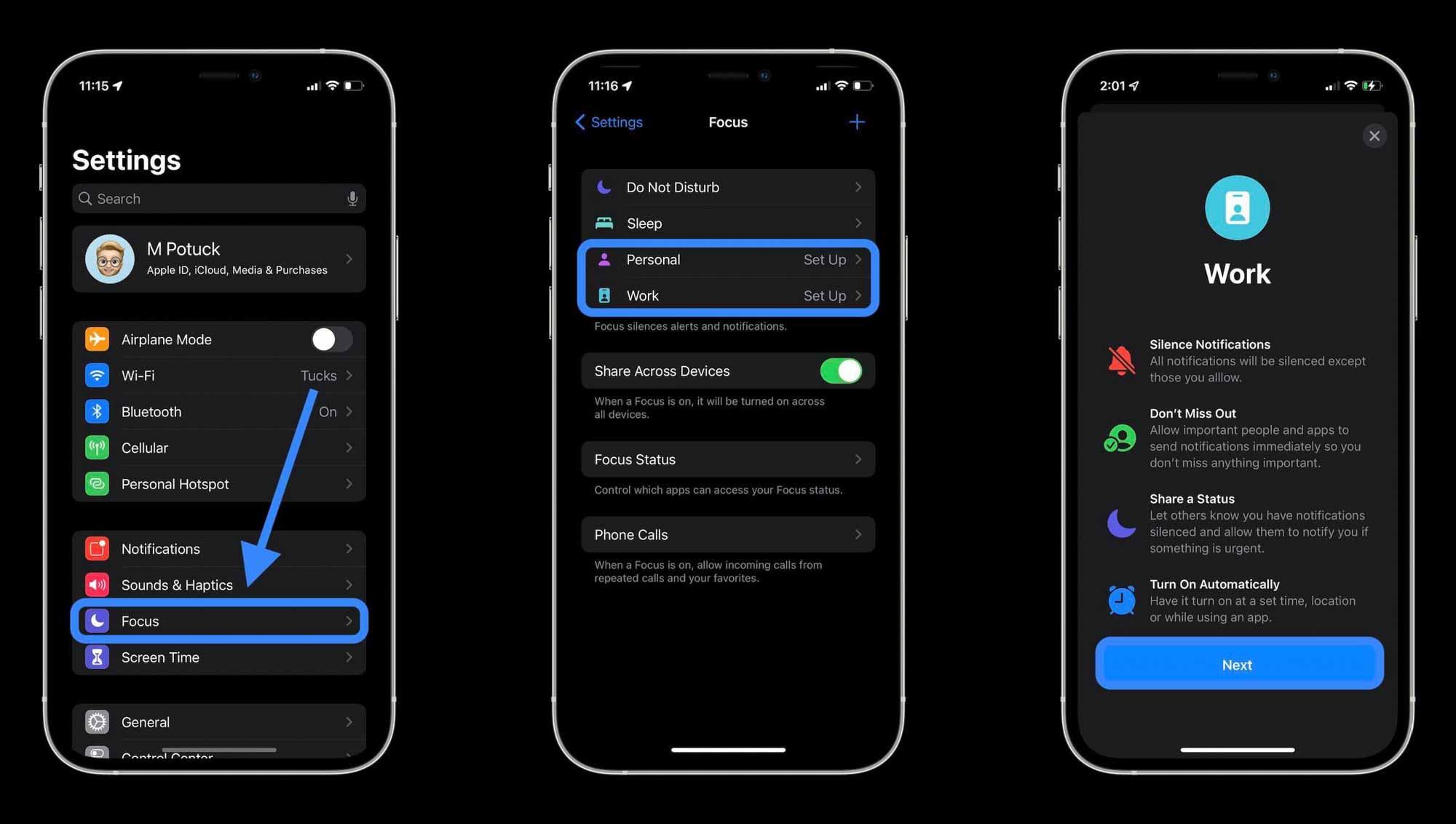 Как использовать iPhone Focus в iOS 15 - процесс настройки 1
