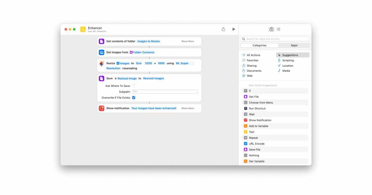 Pixelmator Pro для macOS, чтобы добавить интеграцию с ярлыками