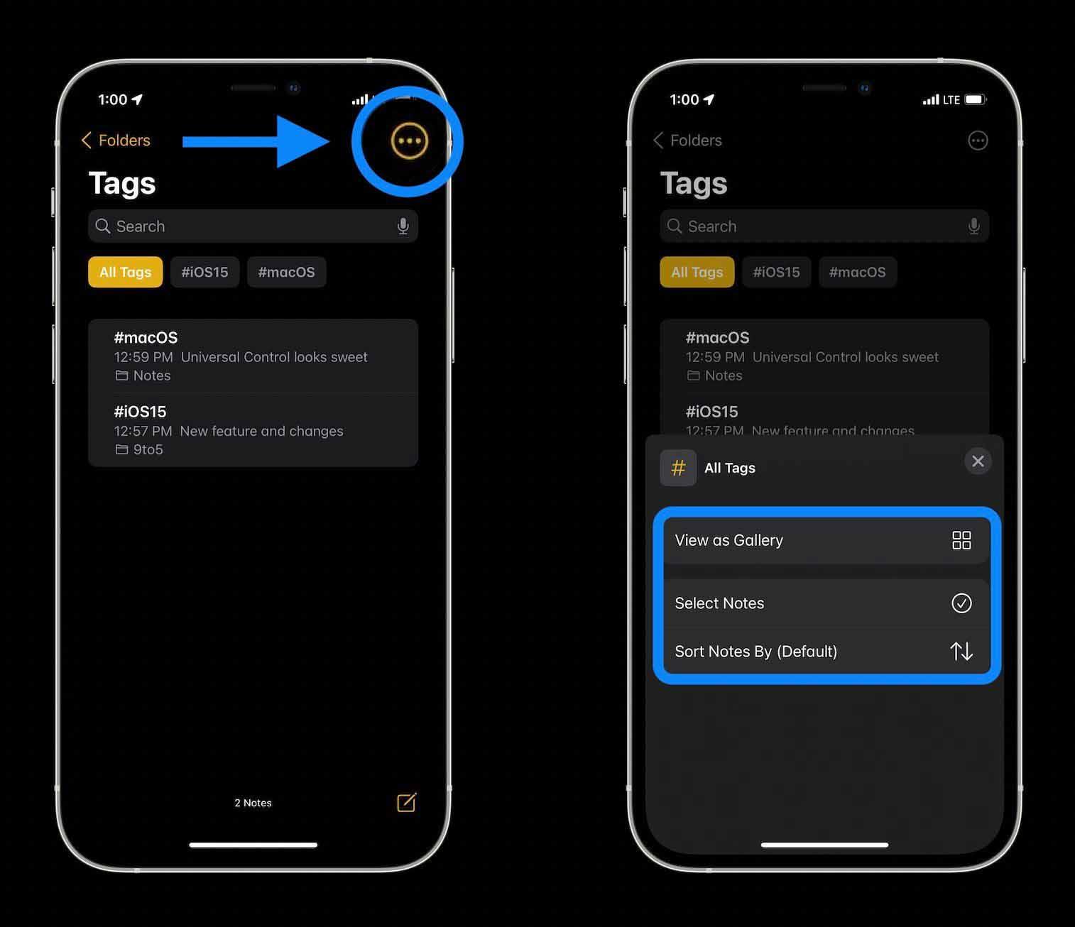 Как организовать заметки iPhone с тегами в iOS 15 прохождение 2.